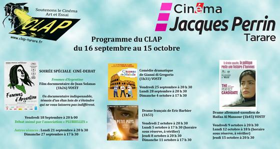 Programme du 16 septembre au 15 octobre